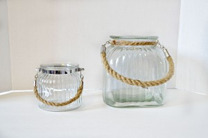 Ribbed jars rope handle